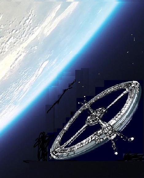 Spinship orbits earth shown below it.
